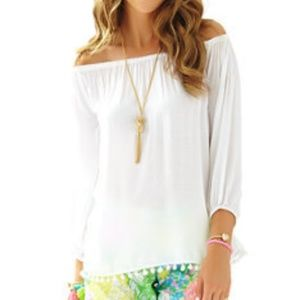 Lilly Pulitzer white off shoulder pom pom top